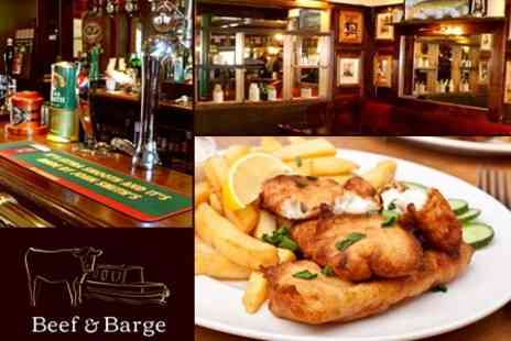 Beef and Barge - Fish and Chips With Beer For Two - Save 54%