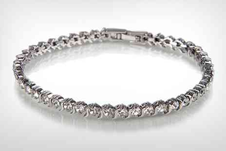 Leigh Anne McCague - Venus 22 Carat White Gold Plated Tennis Bracelet Made With SWAROVSKI ZIRCONIA - Save 80%