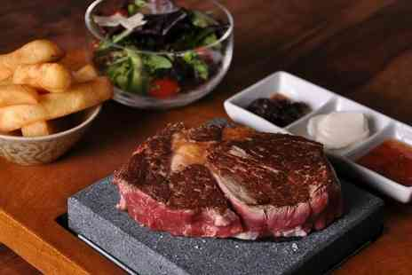Steakhouse - Hot Stone Steak Meal and Wine for Two - Save 53%
