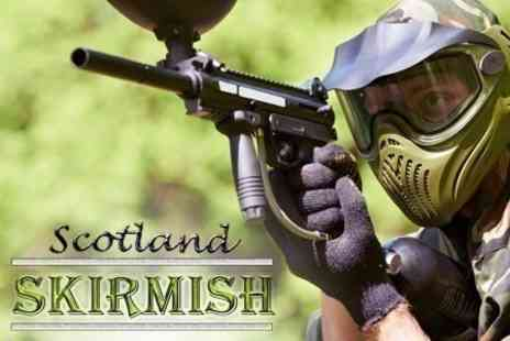 Skirmish Scotland - Paintballing With 100 Balls and Burger Each For Two People - Save 50%