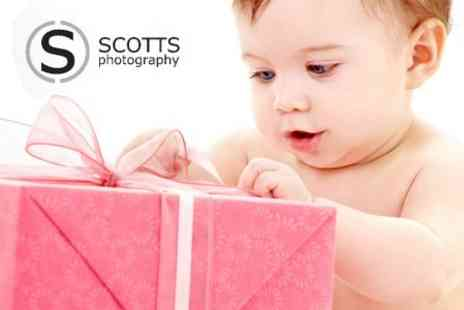 Scotts Photography - Baby Photoshoot With Framed Print and Illustrated Canvas - Save 90%