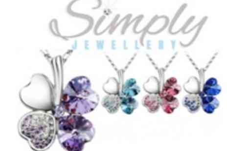 Simply Jewellery - Four Leaf Clover Crystal Pendant Made with Swarovski Elements  4 Colours To Choose From - Save 90%