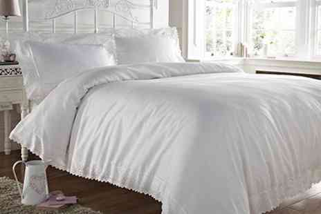 Textiles Direct - Soft Touch Duvet Sets With Lace Border Trim - Save 53%
