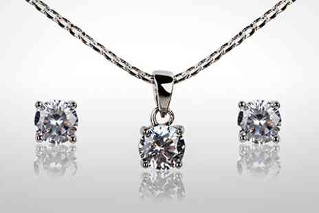 Leigh Anne McCague Couture - Amelia 22 Carat White Gold Plated Necklace and Earrings Set - Save 81%