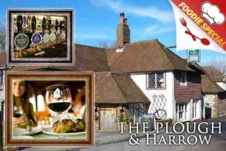 The Plough and Harrow - Two Course Pub Meal With Wine For Two, Four or Six - Save 57%