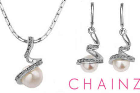 ChainzJewellery.com - Crystal Encrusted Pearl Drop Necklace & Earring Set - Save 83%