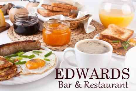 Edwards Bar and Restaurant - Breakfast For Two With Tea or Coffee - Save 53%