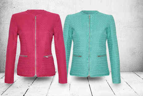Evie Belle - Textured boucle jacket in mint, coral, hot pink or yellow - Save 50%