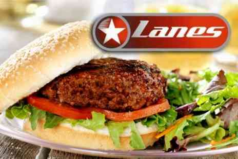 Lanes Bowling - Burger Meal For Two With Toppings Plus Cocktails - Save 60%