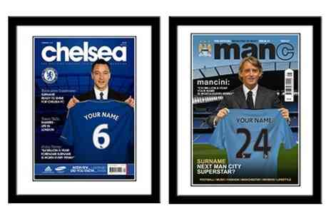 Personalised Football Gifts - Personalised Framed Sports Club Magazine Cover - Save 60%