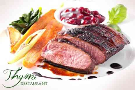 Thyme Restaurant - Two Course European Meal For Two With Wine and Coffee - Save 64%