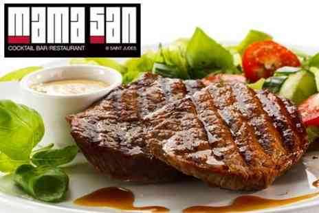 Mamasan at Saint Judes - Sirloin Steak Meal With Dessert and Wine for Two - Save 62%