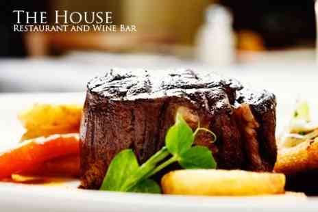 The House - Two Course Steak Dinner Cooked Over Lava Rocks With Prosecco For Two - Save 52%