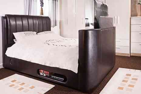 Grampian Furnishers - Leather King Size TV Bed in Black or Brown - Save 53%