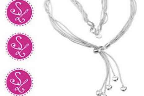 Smart Lass - Sterling Silver Multi Strand Heart Jewellery Necklace - Save 86%