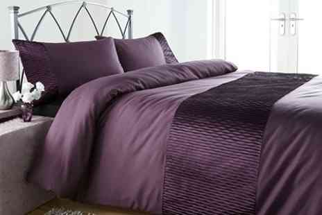 Textiles Direct - Monaco Duvet Sets With Faux Silk Pin Tuck Detailing - Save 54%