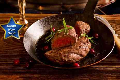 56 North - Sirloin steak meal for two, including Innis & Gunn onion rings, fries, pepper sauce and a glass of wine or draught beer each - Save 53%