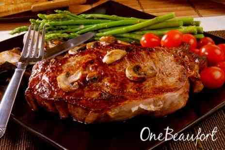 One Beaufort - Steak Meal With Glass of Wine Each For Two - Save 60%