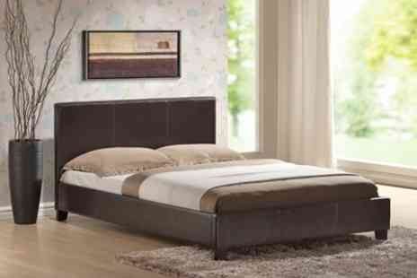 Beds and Mattress World - Houston Bed With Memory Foam Mattress in Choice of Colours - Save 54%