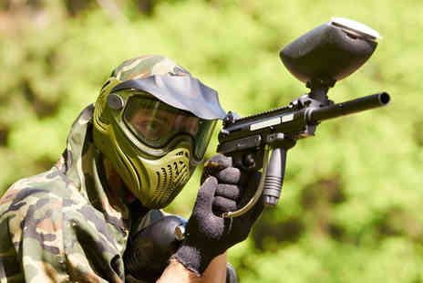 Amazon Events - Paintballing day for 2 including 100 balls each & lunch - Save 91%