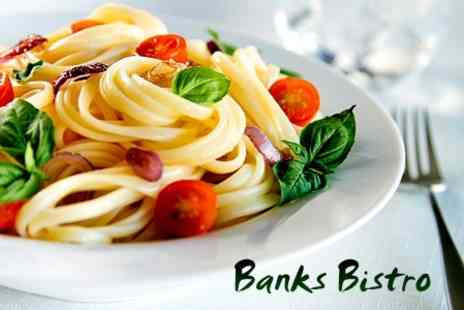 Banks Bistro - Two Course Meal With Wine For Two - Save 56%