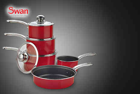 Up Global Sourcing - Five piece pan set inc. 3 saucepans, milk pan & frying pan - Save 41%