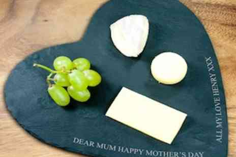 Treat Gifts - Personalised Heart or Rustic Style Slate Cheese Boards - Save 40%