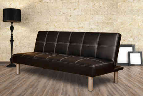Furniture Deals - Black faux-leather 3-seater sofa bed - Save 66%