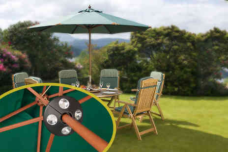 Hayes Garden World - £49.99 instead of £139.99 for a premium hardwood parasol in a choice of colours & LED light's - Save 64%