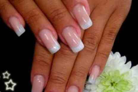 Nadya French - Full Set of Gel or Acrylic Nails With Plain or Coloured Tips - Save 60%