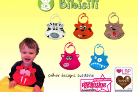 Bibisili - Two Environmentally Friendly Soft Silicone Bibs With Crumb Catchers - Save 50%