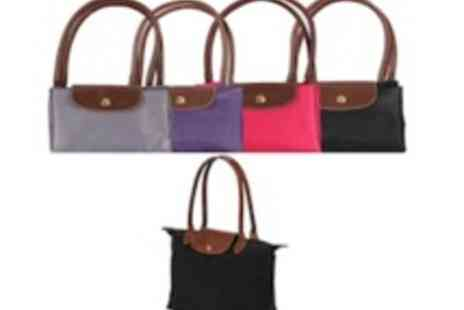 Big Bargain Store - Foldable Tote Nylon Shoulder Bag With Leather Straps - Save 50%