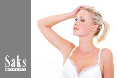 Saks Hair and Beauty - IPL Hair Removal Six Sessions on Two Small Areas - Save 93%