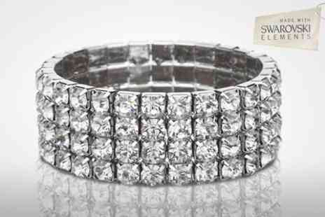 Clear Crystal - Four Row Tennis Bracelet With SWAROVSKI ELEMENTS - Save 80%
