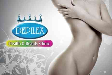 Depilex Health - Laser or IPL Hair Removal Six Sessions for Two Medium Small Areas - Save 80%
