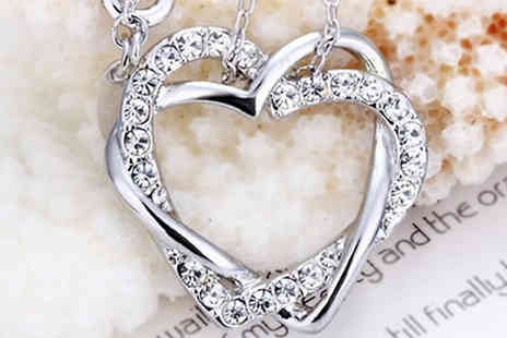 Chainz Jewellery - Show your loved one just how much you really care with the 18k White Gold plated Crystal Hearts Necklace - Save 75%