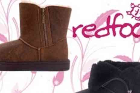 Redfoot Shoes - Aviator Australian Sheepskin Boots in Black or Tan  - Save 54%