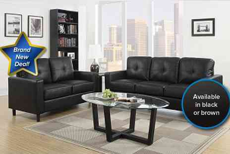 Aston Furniture - Contemporary two seater and three seater faux leather sofa set in black - Save 65%