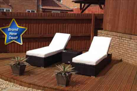 London Rattan - Two London Rattan Capri sunloungers with side table - Save 50%