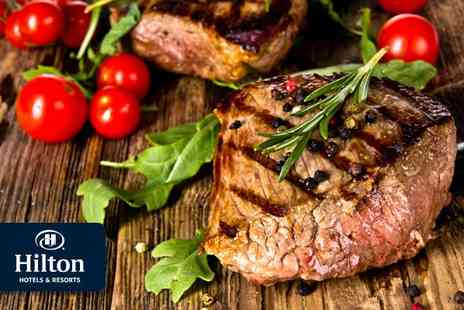 Hilton Hyde Park - Sizzling steak dinner for two and a bottle of wine - Save 50%