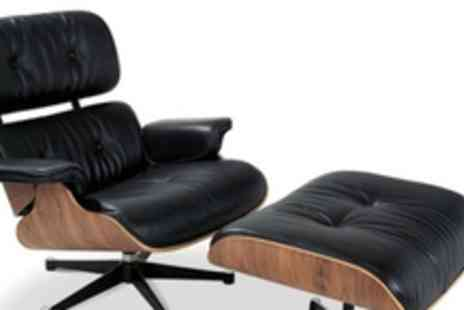 Cool Furniture - An Eames inspired designer real leather lounge chair and ottoman in either black or white - Save 63%