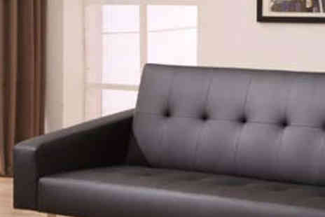 Aston Furniture - Faux Leather Sofa Bed in Black or White - Save 72%