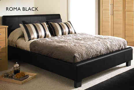 Wowcher Shop - Black or brown Roma double bed & Ortho mattress - Save 60%