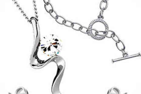 Diamond Style - White Gold Plated Pendant, Earrings, and Bracelet - Save 88%