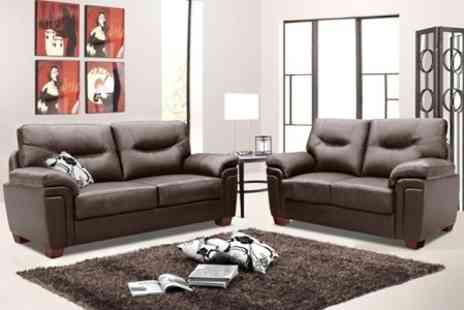 World of Sofa Beds - Two Piece Leather Sofa Suite - Save 71%