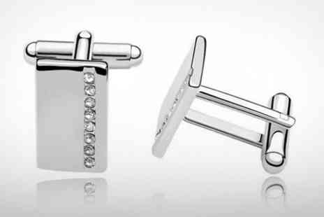 Silver Supermarket - Mens Cufflinks Made With SWAROVSKI ELEMENTS - Save 72%