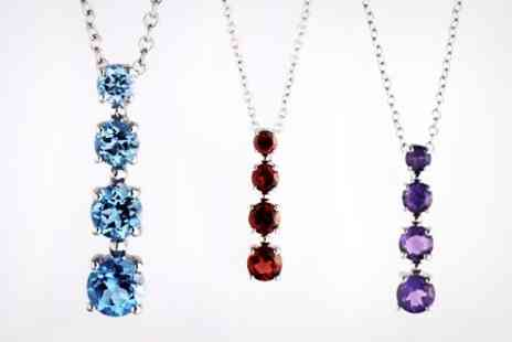Zircontime - Silver Drop Pendant With Choice of Gemstone - Save 81%