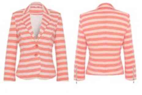 Evie Belle - Vila Peris Coral Stripe Summer Blazer - Save 56%