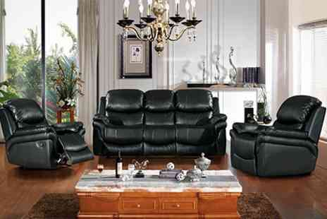 Furniture Wholesale Central - Three Seater Sofa and Two Recliner Chairs in Brown or Black - Save 57%