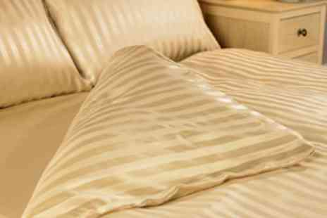 Better Bargains - Double Satin Stripe Duvet Cover Set - Save 68%